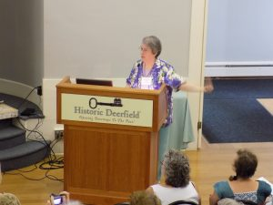 Photo of Florence Feldman-Wood at the Flax & Linen Symposium 2016