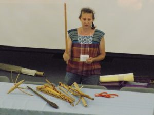 Photo of Becky Ashenden of at the Flax & Linen Symposium 2016