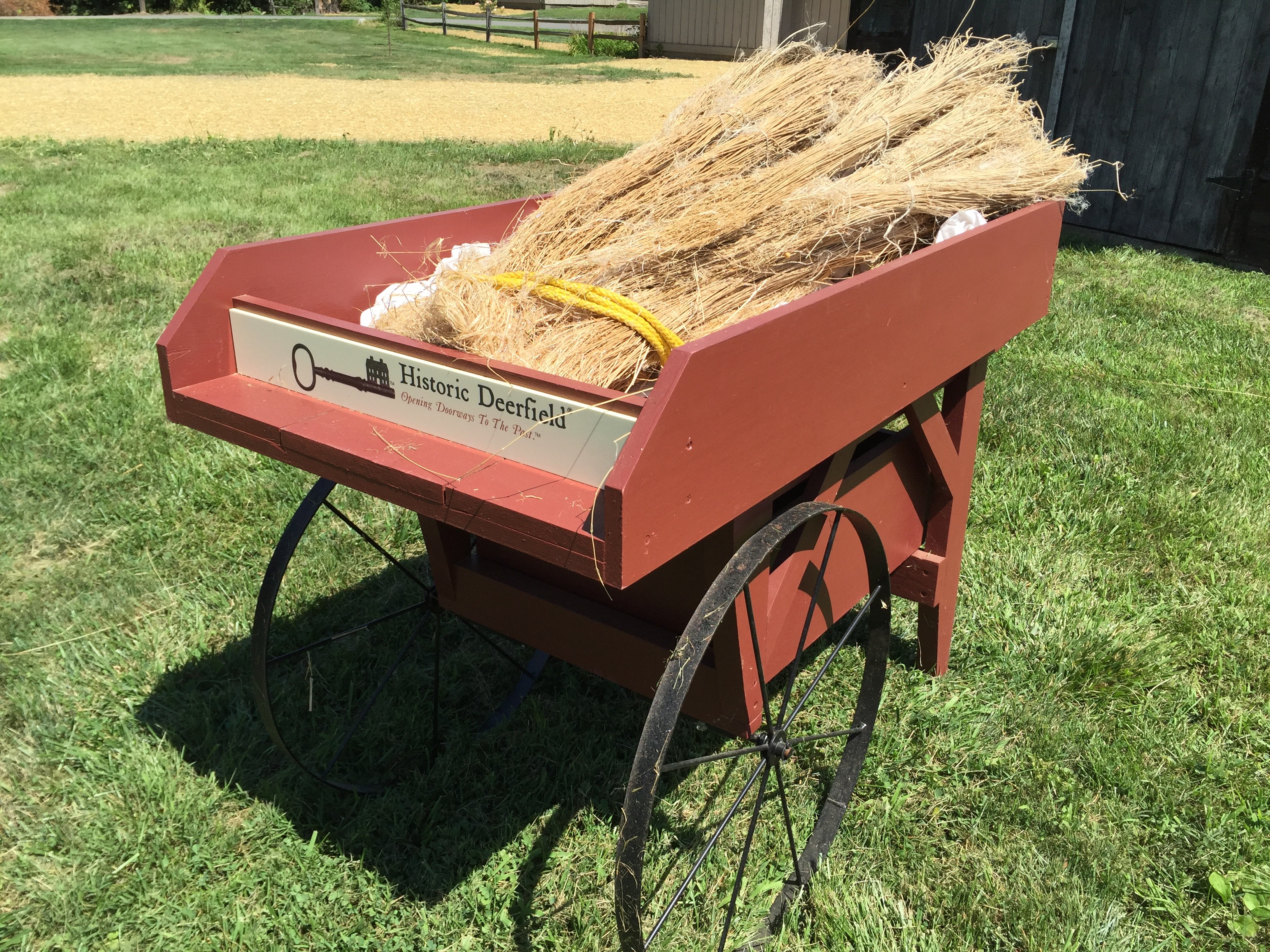 Photo of Historic Deerfield's cart at the Flax & Linen Symposium 2016