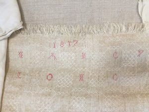 Photo of antique linen sample at the Flax & Linen Symposium 2016