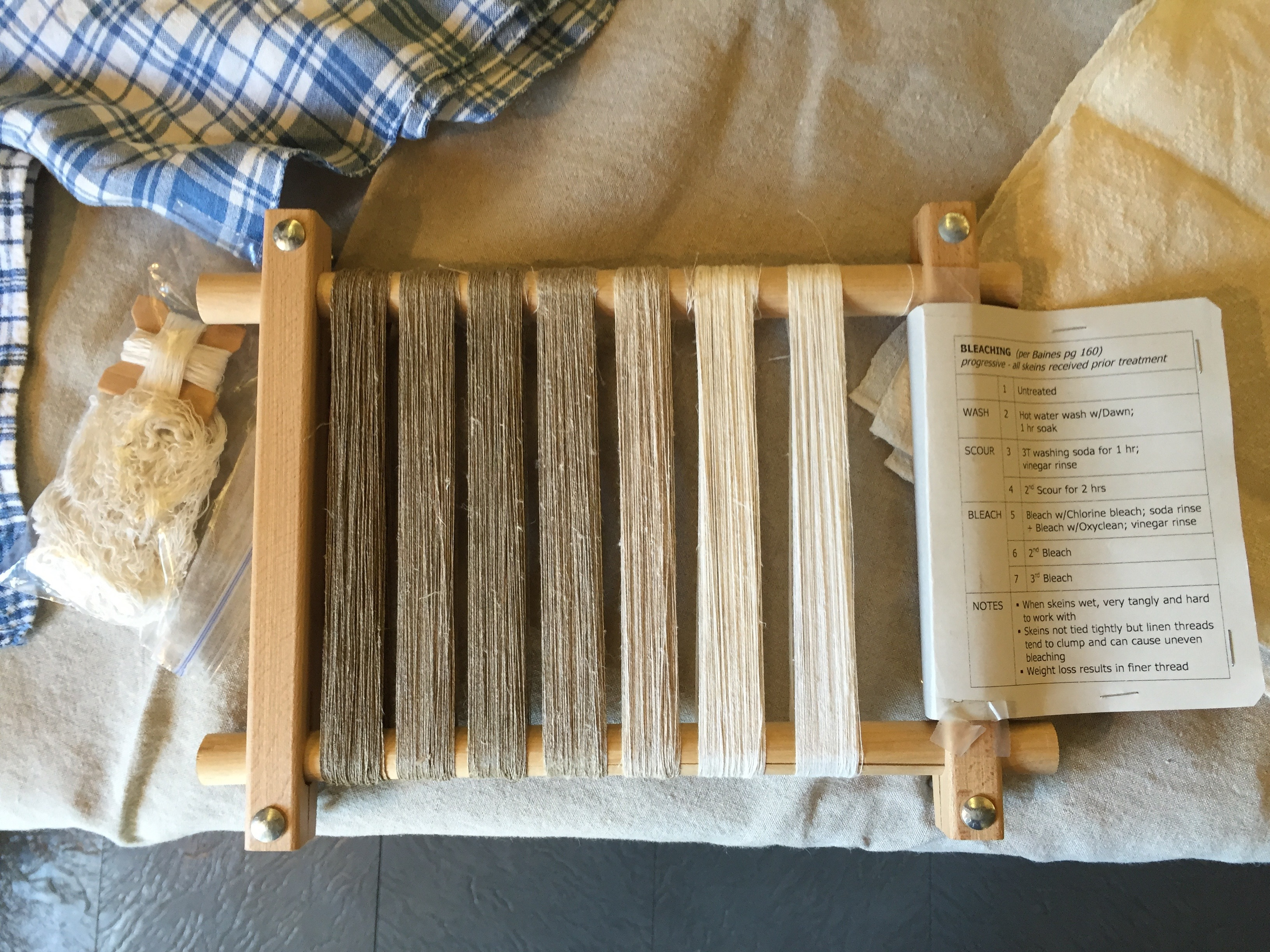 Photo of Linen Bleaching sampler at the Flax & Linen Symposium 2016