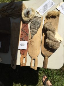 Photo of Antique Flax Tools at the Flax & Linen Symposium 2016