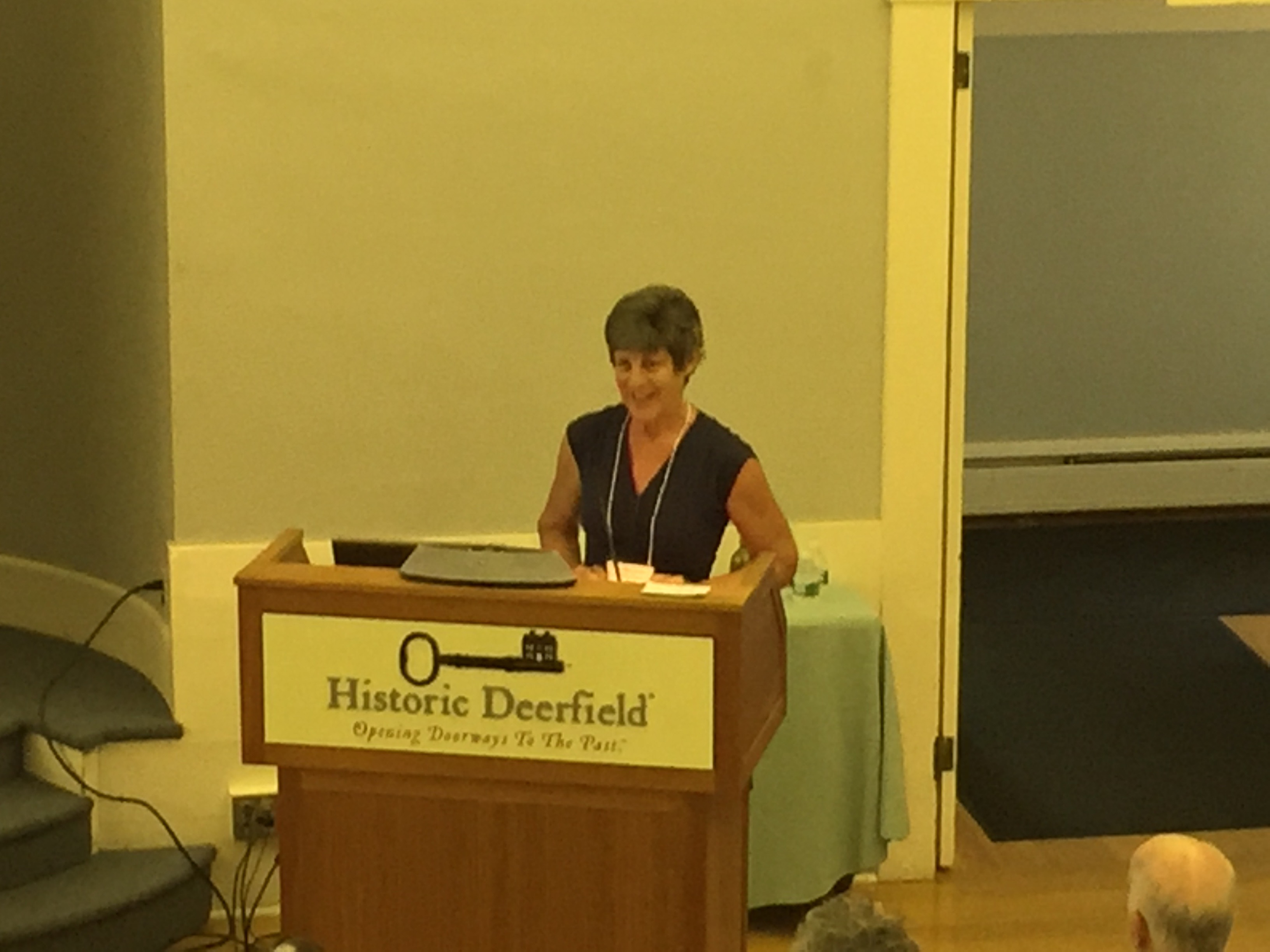 Photo of Sandy Fisher at the Flax & Linen Symposium 2016