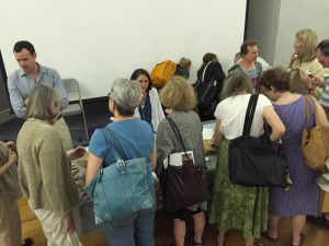 Photo of Weaving panel discussion at the Flax & Linen Symposium 2016
