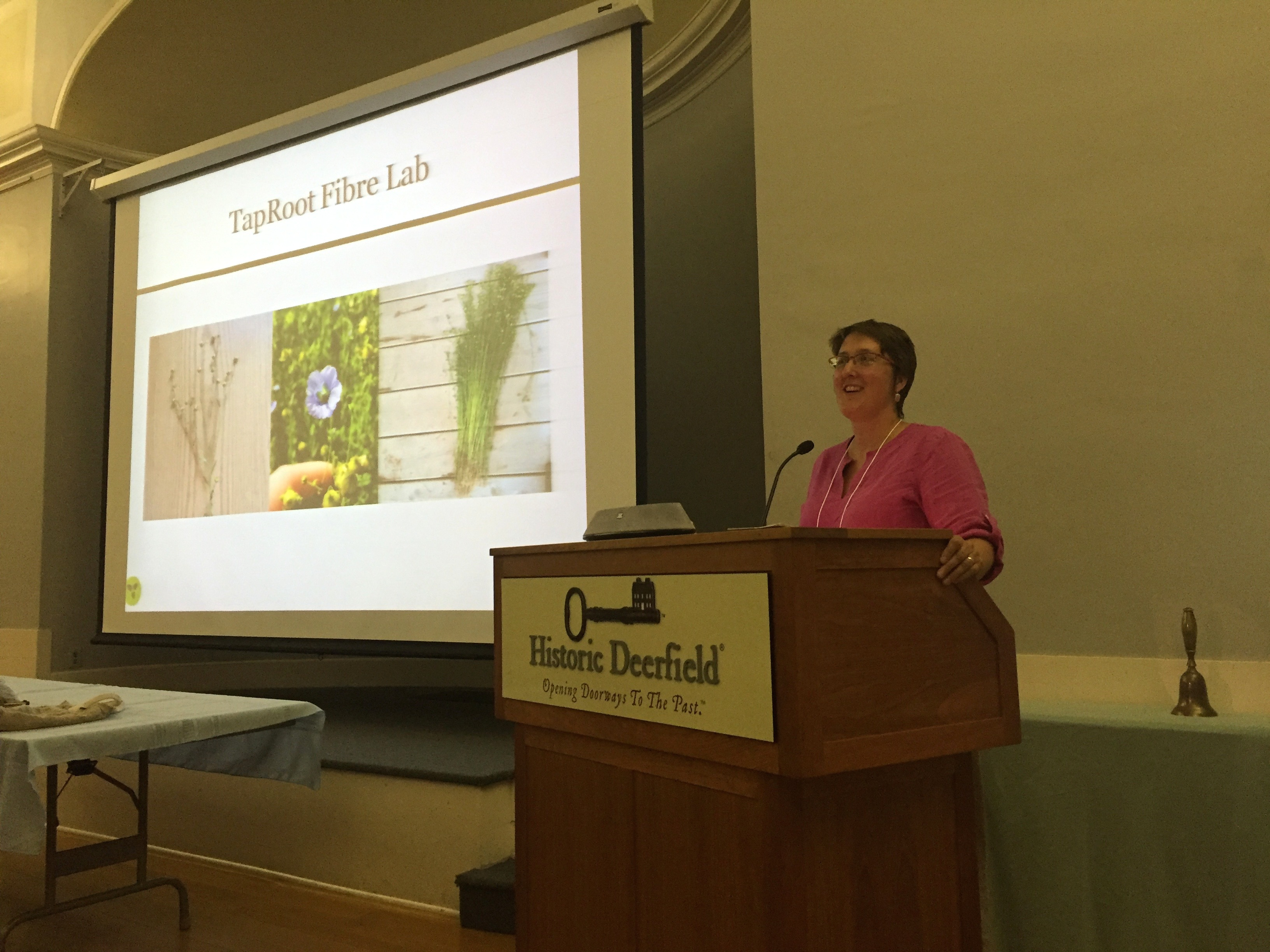 Photo of Patricia Bishop at the Flax & Linen Symposium 2016